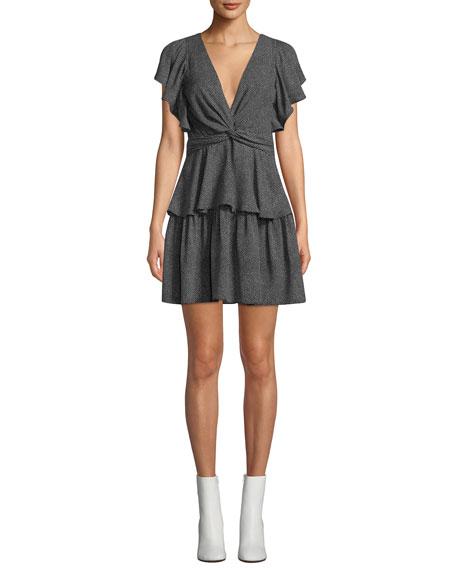 A.l.c Dresses VIERA RIMINI DOT-PRINT V-NECK FLUTTER-SLEEVE DRESS