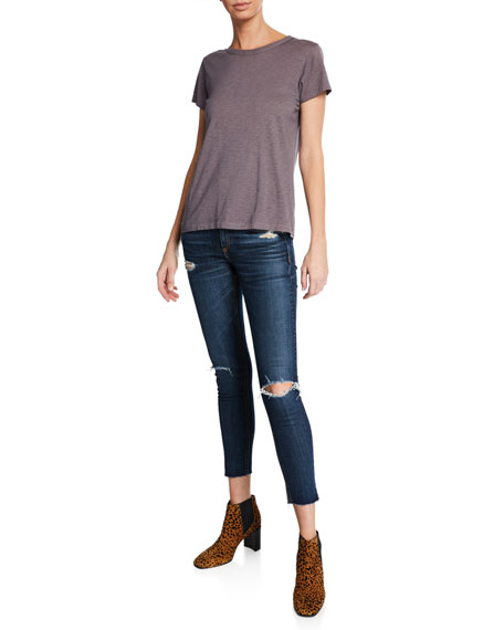 Mid-Rise Cropped Ankle Skinny Jeans with Holes
