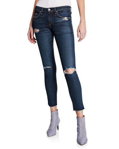 465fdcbb28 Mid-Rise Cropped Ankle Skinny Jeans with Holes