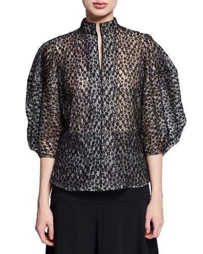 Amplus Lace Blouson-Sleeve High-Neck Top
