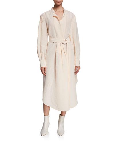 Allium Belted Pintuck Shirt Dress