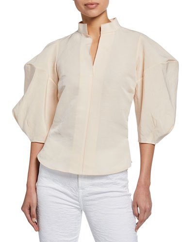 Amplus Structured Puff-Sleeve Top