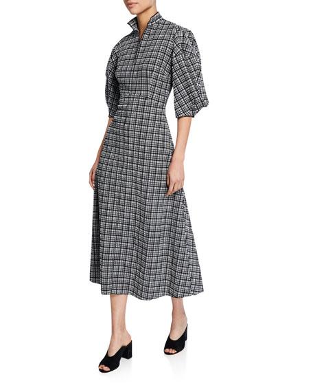 Rachel Comey Amplus High-Neck Check Jacquard Puff-Sleeve Dress