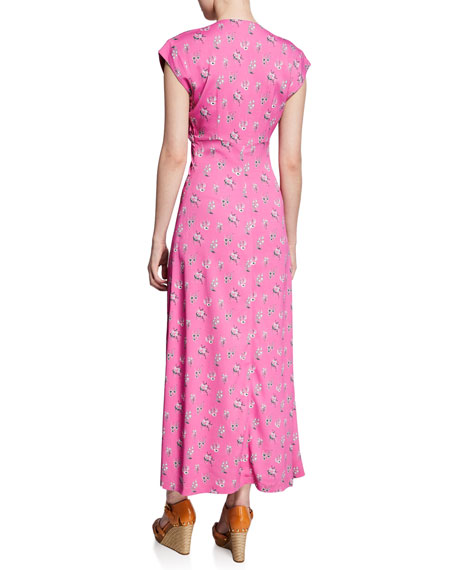 Chrysantha Printed Short-Sleeve Long Dress