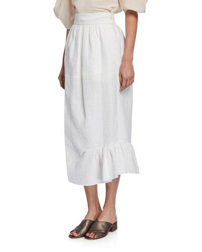 Fanon Draped Ruffle Midi Skirt