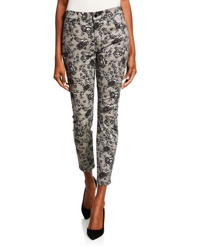 Lace Noir Printed Mid-Rise Ankle Skinny Jeans
