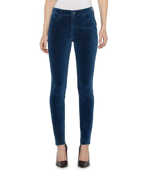 PARKER SMITH Ava Velvet Mid-Rise Skinny Jeans in Indigo Velvet