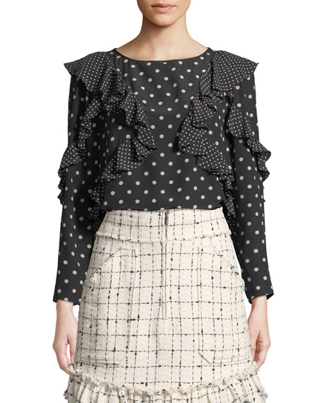 Rebecca Taylor Tops DOT-PRINT SILK LONG-SLEEVE RUFFLE TOP