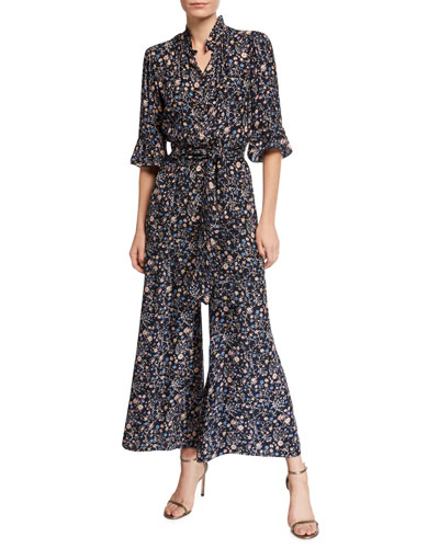 befd4cecf148 Vivianna Long-Sleeve Floral-Print Silk Jumpsuit Quick Look. Rebecca Taylor