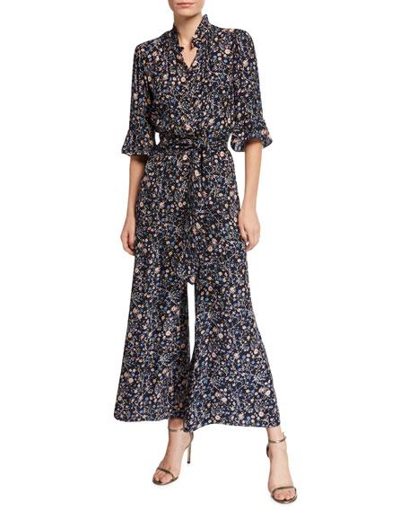 fee3d1de7d Rebecca Taylor Vivianna Long-Sleeve Floral-Print Silk Jumpsuit
