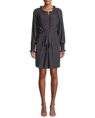 Long-Sleeve Front-Tie Dot Silk Dress