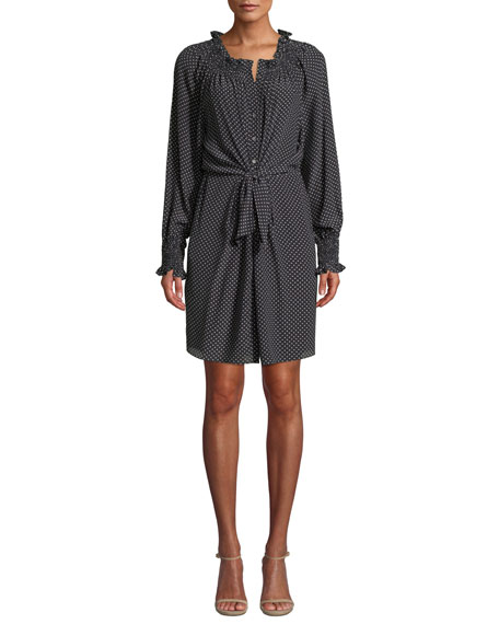 Rebecca Taylor Dresses LONG-SLEEVE FRONT-TIE DOT SILK DRESS