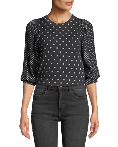 Dot-Print Wool-Silk Crewneck Pullover Top