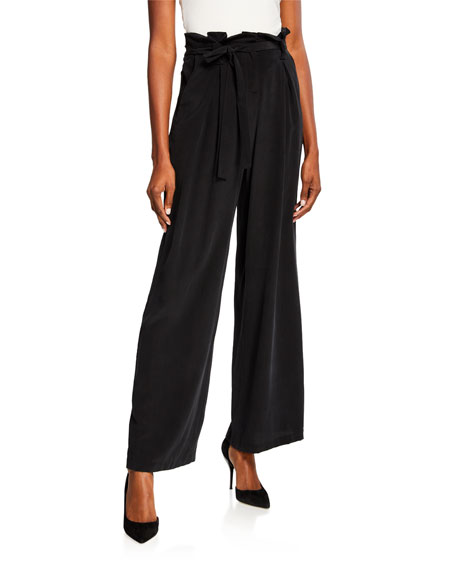 L'Agence Bobby Silk Wide-Leg Paperbag Pants
