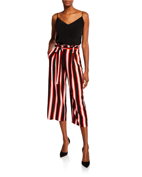 Samira Striped Wide-Leg Cropped Paperbag Pants