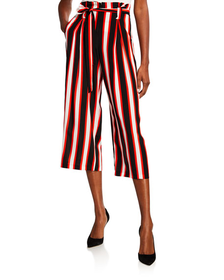 L'Agence Samira Striped Wide-Leg Cropped Paperbag Pants