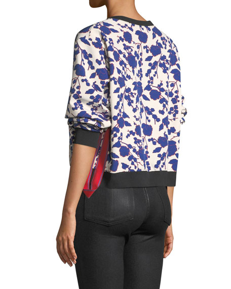 Cropped Floral-Print Crewneck Sweatshirt