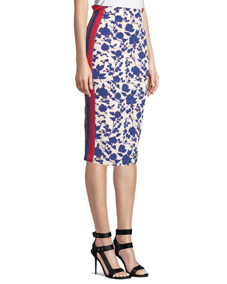High-Rise Floral Side-Stripe Pencil Skirt