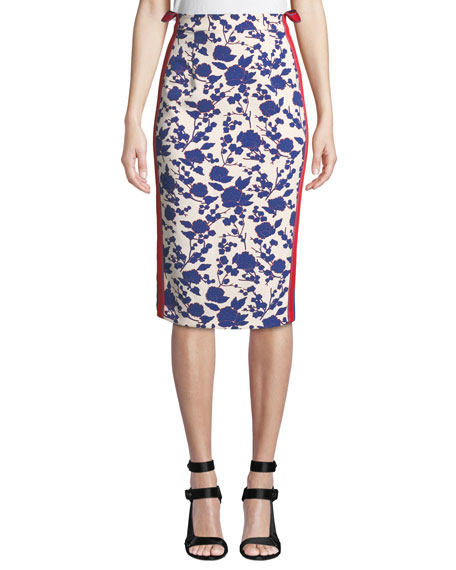 PINKO High-Rise Floral Side-Stripe Pencil Skirt