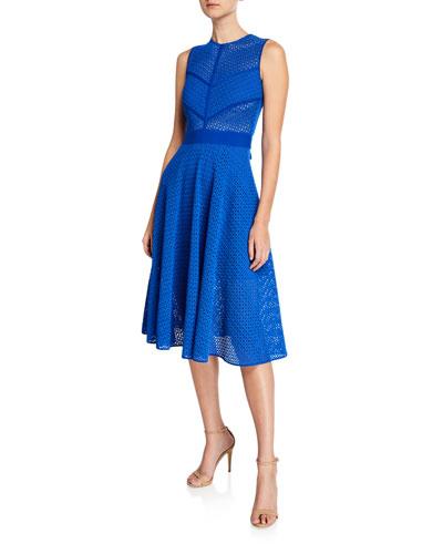 Sleeveless Lace Belted Midi Dress