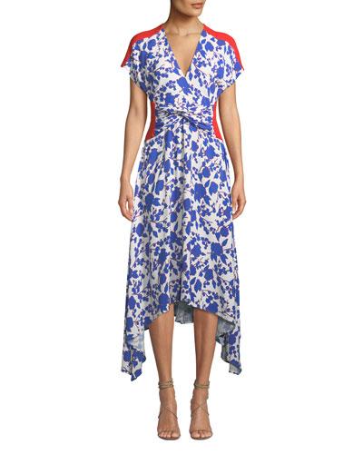 Floral Twist-Front Asymmetrical Midi Dress