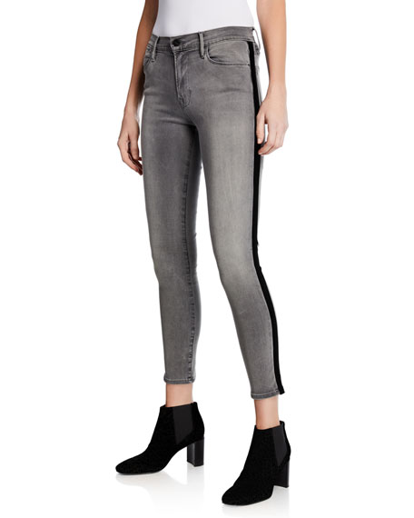FRAME Le High Skinny Velvet Tux Ankle Jeans