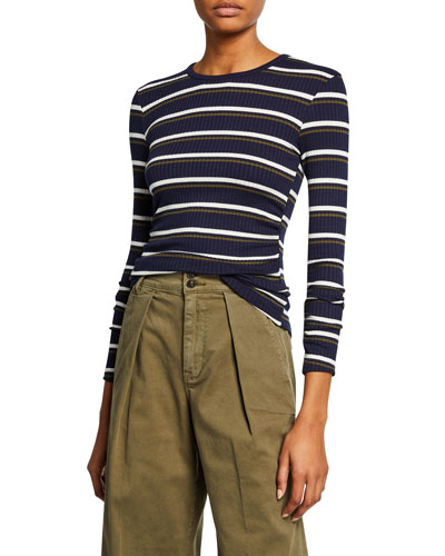 Shirred Long-Sleeve Striped Top