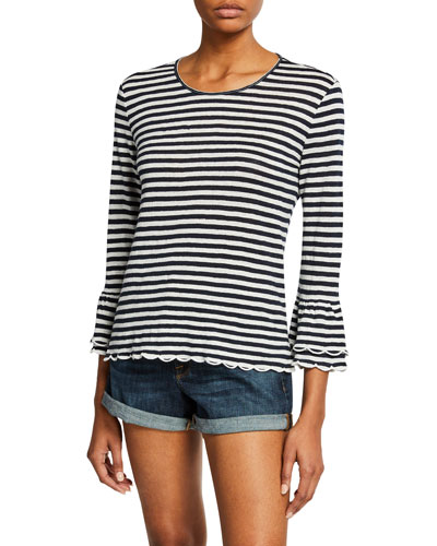 Scalloped Bell-Sleeve Striped Top
