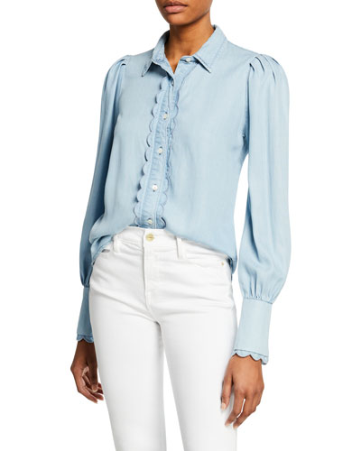 Scalloped Button-Front Denim Top