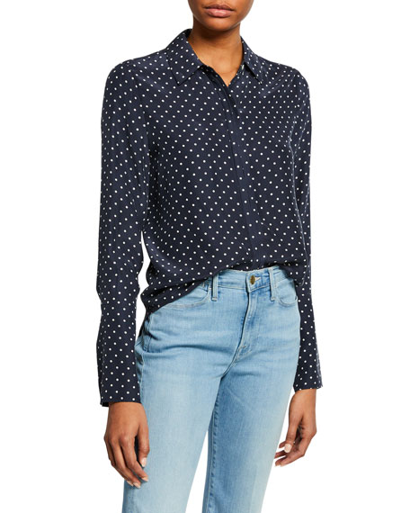 FRAME Clean Dot-Print Pajama Button-Front Blouse