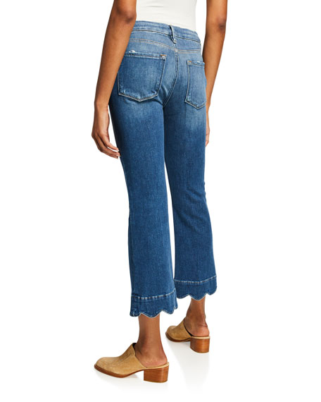 Le Crop Mini Boot-Cut Jeans with Scalloped Hem
