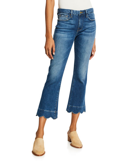 FRAME Le Crop Mini Boot-Cut Jeans with Scalloped