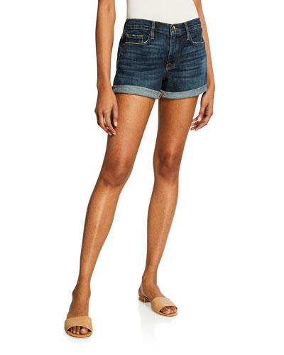 Le Cut Off Cuffed Denim Shorts
