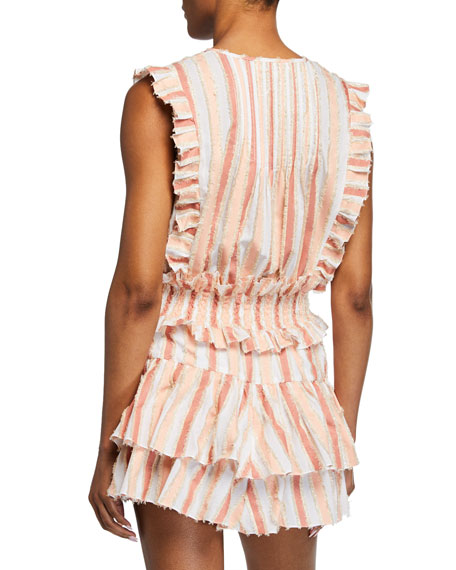 Nika Striped Sleeveless Ruffle Top