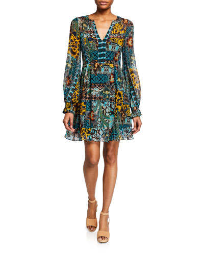 Cactus Flower V-Neck Long-Sleeve Dress