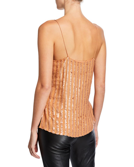 Sequined V-Neck Slip Tank