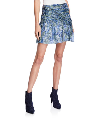 Shari Printed Silk Short Skirt