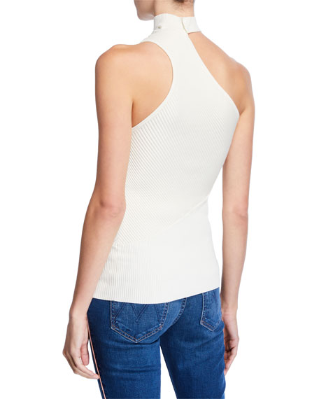 Portia One-Shoulder Mock-Neck Sleeveless Top