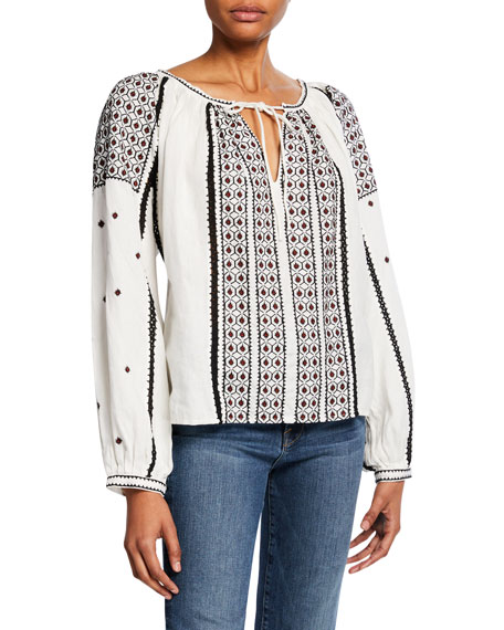 Anita Embroidered Linen Peasant Top