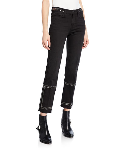 Le High Straight-Leg Studded Jeans