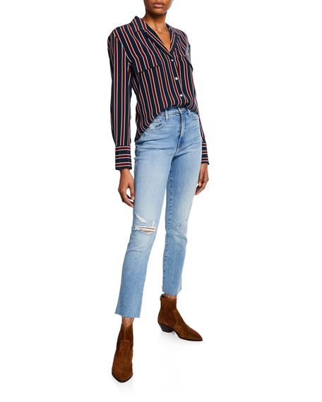 Le Sylvie High-Rise Straight Raw-Edge Jeans