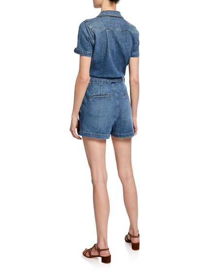 Pleated Denim Coverall Romper