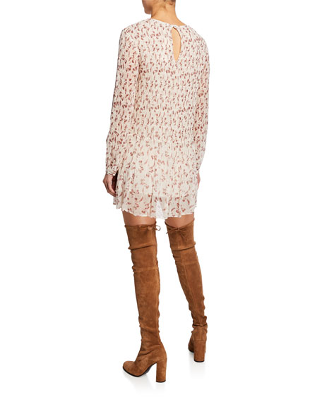 Floral-Print Long-Sleeve Smocked Mini Dress
