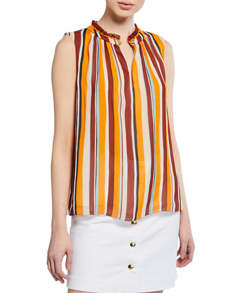 Frame Tops SLEEVELESS STRIPED RAGLAN TOP