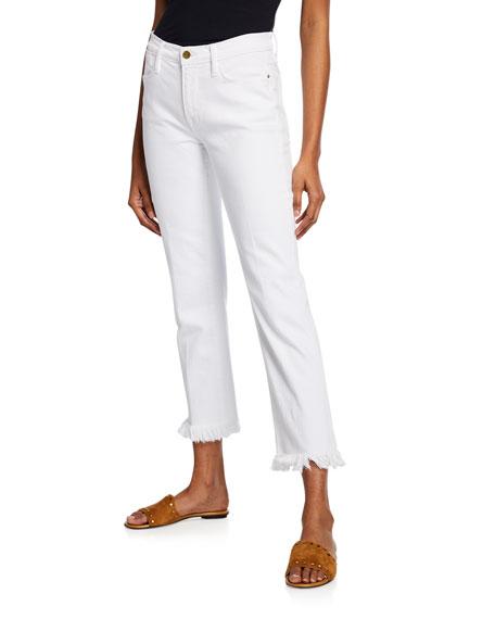 FRAME Le High Straight Micro Shred Jeans