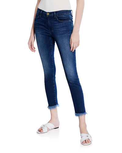 Le Skinny De Jean Crop Skinny with Shredded Hem