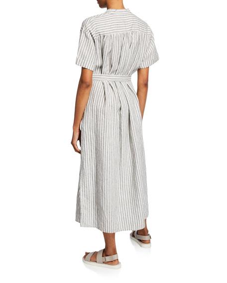 Striped Linen-Cotton Belted Shirtdress