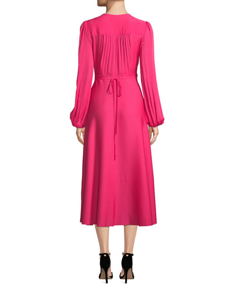 Gina Long-Sleeve Stretch Silk Midi Wrap Dress