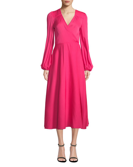 Milly Gina Long-Sleeve Stretch Silk Midi Wrap Dress