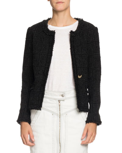 Lyra Fringe-Trim Tweed Topper Jacket